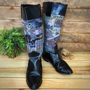 Shoes - Vintage boho style tall leather blanket boots